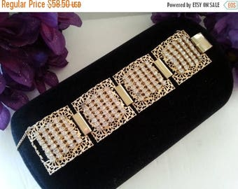 ON SALE Chunky Wide Bracelet, Vintage Rhinestone Statement Jewelry, Mid Century 1950's Accessories, Gift For Her