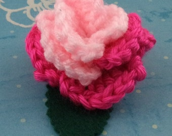 Crocheted Rose Hair Clip - Light Pink and Hot Pink (SWG-HC-MPPP01)