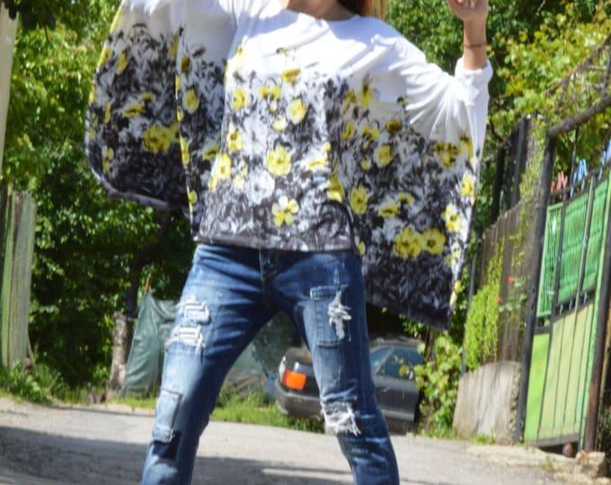 Plus Size Extravagant Tunic, Cotton Flowers Top, Asymmetric Tunic, Casual Tunic, Loose Maxi Shirt, Maxi Tunic Top by SSDfashion