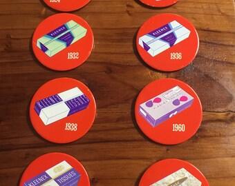 1968 Kleenex Tissues Box Buttons Pinback- Set No. 3 Complete 1924-1968