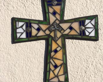 French Country Wall Cross, Traditional Wall Cross,  Mosaic Cross, Unique Wall Cross, Religious Cross, Stained Glass Cross, Mosaic Wall Art