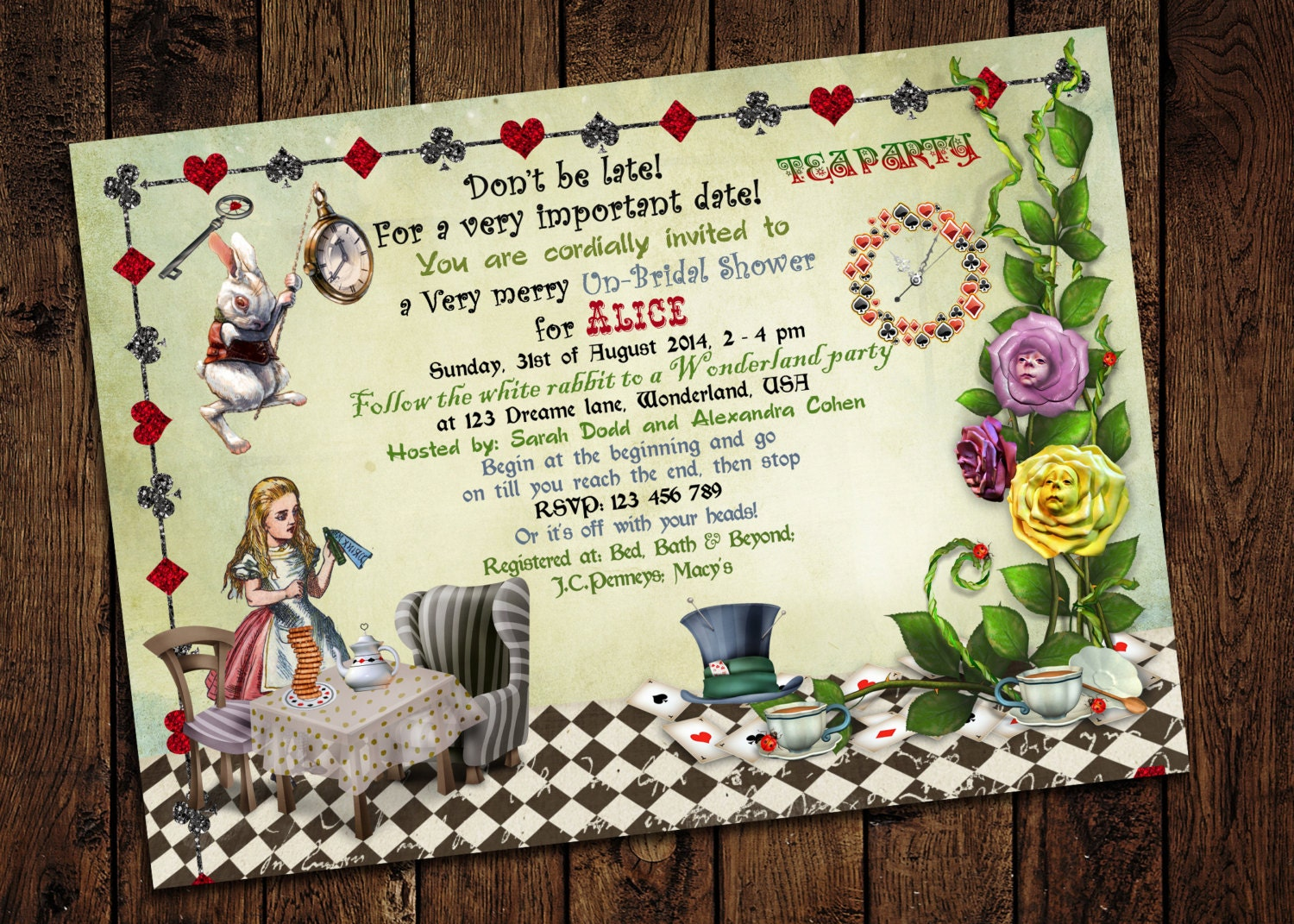 mad hatter themed birthday party invitations - Picture Ideas References