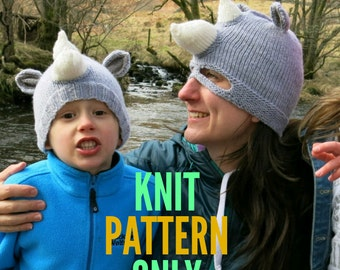 Multi-Size Rhino Hat Knitting Pattern - Adult, Teen, Toddler  -  Knit Pattern Only - Rhino Beanie - Masked Rhino Costume - Zoo Animal Safari