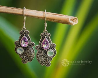 Kembang Harum Silver Dangle Earrings / 925 Sterling Silver / Amethyst & Moonstone / Balinese Handmade Earrings