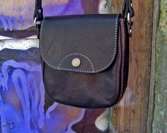 Leather small bag Small leather handbag Shoulder black bag Leather crossbody bag