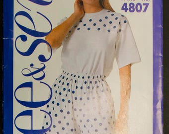 4807 See & Sew Pattern Size XS-XL Ladies Womens Shorts Skorts Coulottes Skirt Shirt Blouse Vintage 1990 Sewing Pattern