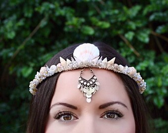 Shell crown, mermaid crown, shell tiara, mermaid tiara, mermaid costume, renaissance costume, gypsy, boho headband, burning man