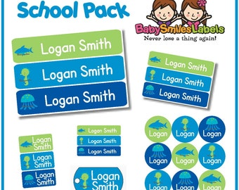 School Pack - Personalized Waterproof Labels Shoe Labels Clothing Tag Labels Bag Tags Daycare Labels Name Labels - Seaworld Boy