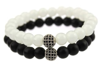 Distance bracelet Black And White matching pair Long distance For Friendships relationships couples For Him / Her White and black matte onyx