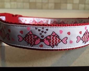Kissing Fish Large and Medium Dog Collar/Optional Matching Leash