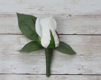 Silk Boutonniere, White Rose Bud, Boutonniere, White and Green Boutonniere, Bout, Button Hole, Wedding, Groom, Groomsmen, White Boutonniere