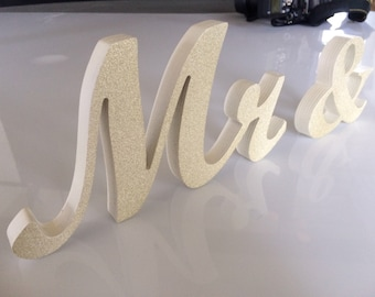 Mr. & Mrs. Glitter wedding table decoration, freestanding Mr and Mrs signs for sweetheart table