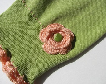 Upcycled Fancy Silk Longies - Croched flower - Small - 0 - 6 Months - One of A Kind