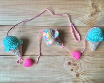Crochet ice cream bunting, ice cream garland, crochet bunting, rainbow ice cream, pastel ice cream, crochet ice cream garland