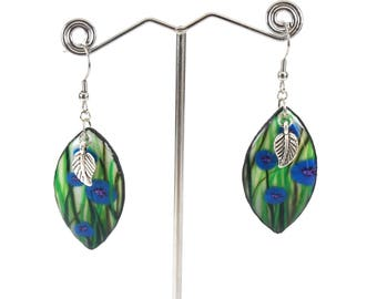 Flower fields blueberries polymer - nature jewelry - stainless steel hook earrings