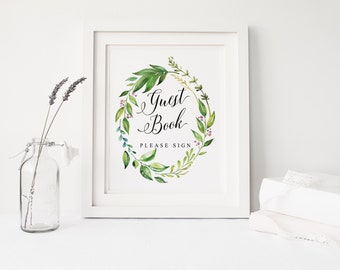 Printable wedding guest book sign, Wedding guest book wreath, Nature leaves guest book printable, sign Instant download, The Amy collection