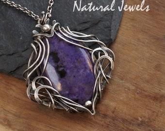 Silver pendant Sugilite - handmade Art Nouveau Jugendstil silver pendant with a cabuchon of the purple gemstone Sugilite