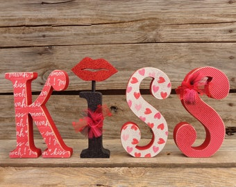 Valentines Decor - Valentines Letters - Valentines Day -  KISS Letter set