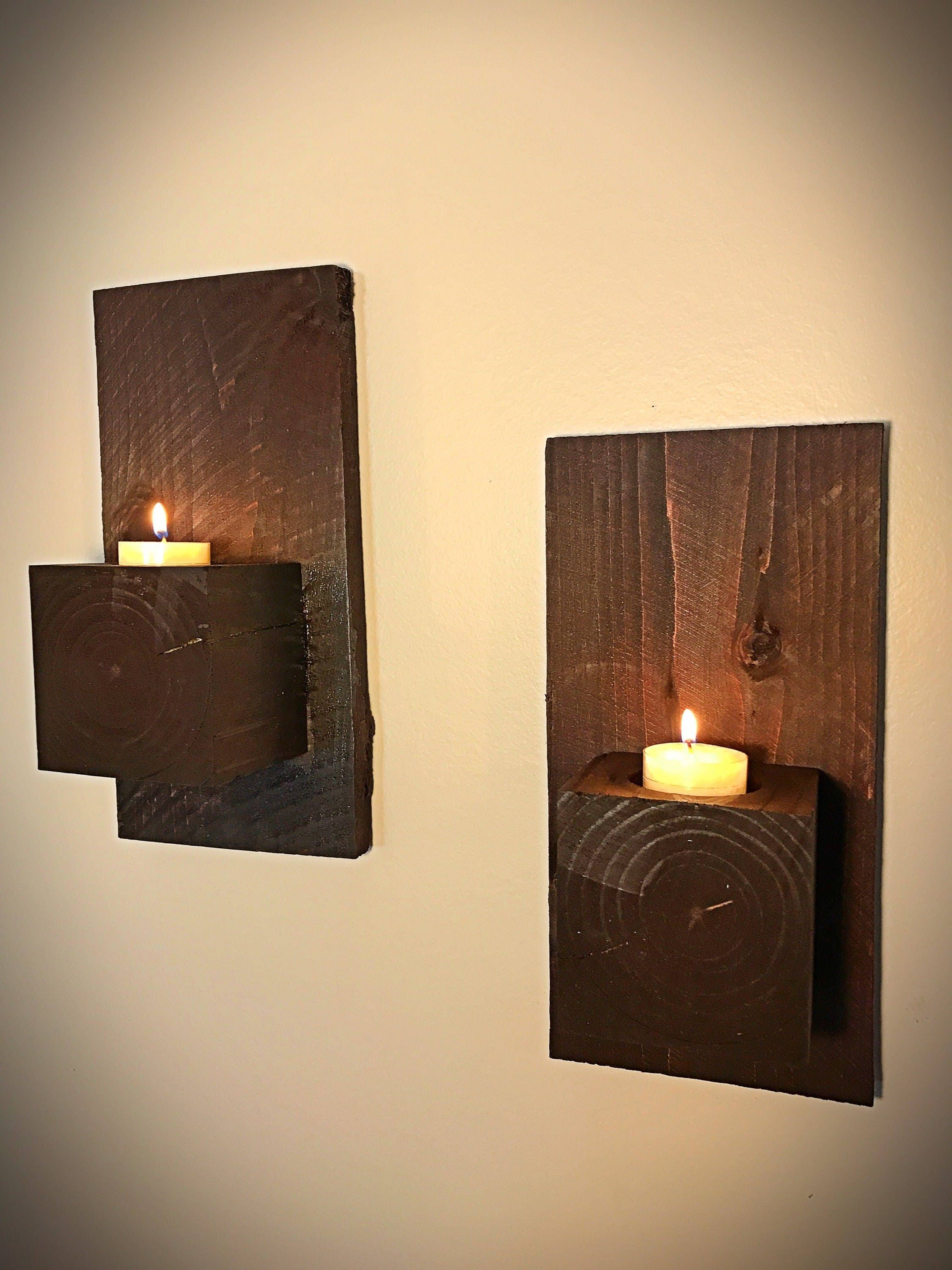 Set of 2 Wood Block Wall Sconce Rustic Home Decor Home &