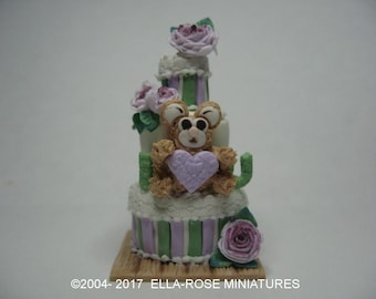 12th scale handcrafted miniature Teddy Bear 'I Love You' tiered cake