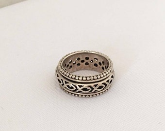 Vintage Sterling Silver Fish Heavy Band Ring Size 8.5