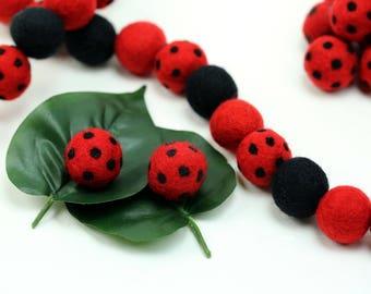 Wool Felt Balls // Lady Bug Felt Balls // Polka Dot Balls // DIY Garland // Wool Beads // Party Garlands // Red with Black Dots