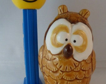 "Vintage 1982 Ceramic Owl Figure, Quon-Quon Japan, Small Cute 3"" Owl, Collectible Kitschy Owl with Big Eyes, Made in Japan, Small Owl Figure"