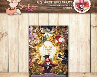 Alice Through the Looking Glass Birthday Invitation - Custom Digital Invitation 4x6-Alice in Wonderland,Through the Looking Glass,Alice