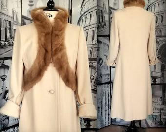 60s Vintage Wool Coat - Mink Collar - GLAMOROUS Vintage Coat - Winter Coat - YOUTHCRAFT - Size Small