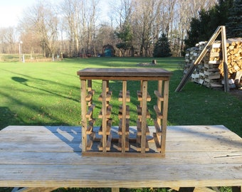 Free Standing Rustic Wine Rack Made of Historic Pennsylvania Reclaimed Barn Wood - Handmade - Holds 16 bottles