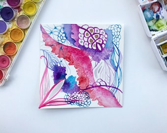 Coral Pink Purple Blue Undersea Octopus Original Abstract Watercolor Painting Home Decor 6 x 6