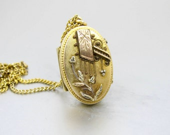 Antique Victorian Gold Locket. Oval Monogrammed Aesthetic Pinchbeck Mourning Hair Picture Locket.