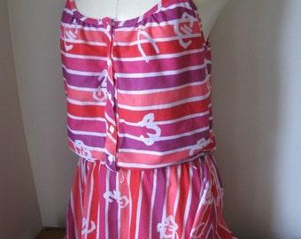 Vintage 1980s Pink Striped Summer Floral Dress