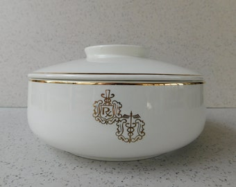 Mid Century Hall China RX and Caduceus Covered Serving Bowl, Medical, Pharmacy, Doctor, Pharmacist, Graduation Gift