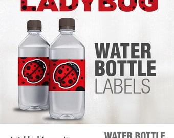 LADYBUG Water Bottle Labels / Ladybug Birthday Party / Water Bottle Labels / Instant Download / Birthday Party Printables