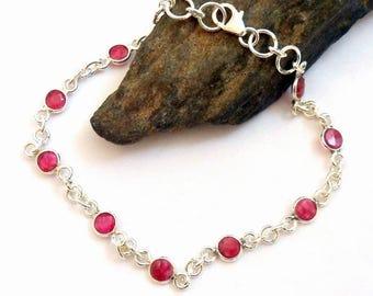 Ruby Sterling Silver Bracelet earthegy #2669