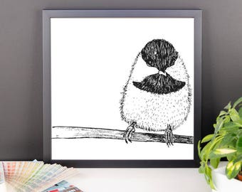 bird chickodee framed art print home decor animal nature boys girls nursery wall art childrens art housewarming gift Framed poster
