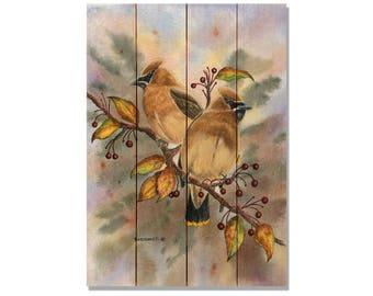 Bartholet's Cedar Waxwings, Watercolor Bird Print on Wood, Wall Hanging Bird Decor (DBCW)