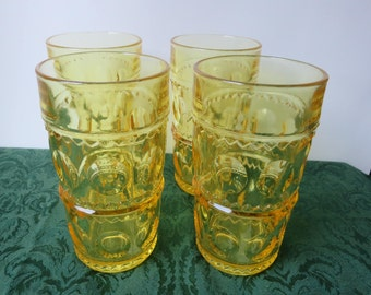 Set of Four (4) 1960s Tiffin Glass Kings Crown Thumbprint Yellow Tumblers Vintage Retro Water Glasses