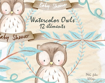WATERCOLOR OWL, woodland, baby shower invite, birthday invitation, baby shower clipart, watercolor Papers, commercial use, instant download.