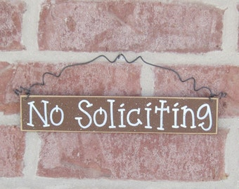 Free Shipping - NO SOLICITING SIGN (brown) for home and office hanging sign