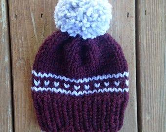 Striped Heart Chunky Knit Pom Pom Beanie | Claret & Gray