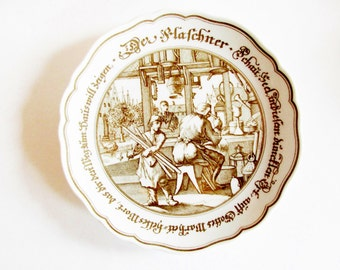 """German Vintage Rustic Collective Plate """"Der Flaschner"""" /The Tinner""""  From Company Hutschenreuter - Rustic Kitchen Decor"""
