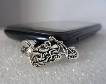 Motorcycle Charm! Cell Phone Dust Plug & Charm! Universal Dust Plug Fits Any Audio Port! Laptops Tablets Etc.! Free Shipping! On Sale Now!