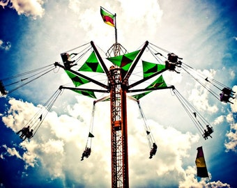 Carnival Swings Ride & Surreal Sky Fine Art Print- Carnival Art, County Fair, Nursery Decor, Home Decor, Children, Baby, Kids
