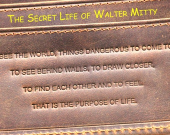 Genuine Leather Wallet; Walter Mitty; Father Gift; Christmas Gift; Groomsmen Gift; Distressed Leather; The Secret Life of Walter Mitty