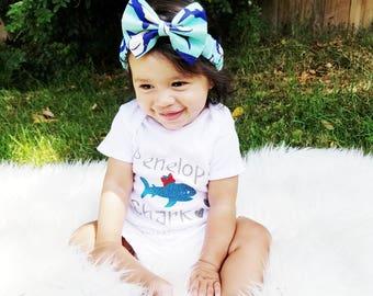 Shark Headband- Shark Bow; Shark Hair Bow; Shark Outfit; Toddler Headband; Newborn Headband; Girls Headband; Hair Bows; Shark Bow Headband