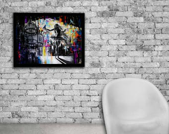 Cage oil print, Ballerina, Ballerina art, Ballerina wall art, Ballerina painting, Ballerina print, Ballet wall art, Ballet poster