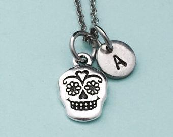 Sugar skull necklace, sugar skull charm, skull necklace, personalized necklace, initial necklace, initial charm, monogram