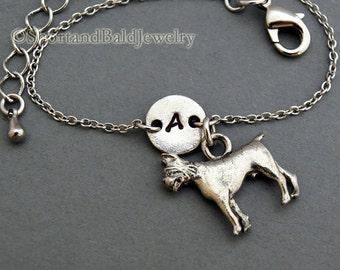 Boxer dog charm bracelet, antique silver, initial bracelet, friendship, mothers, adjustable, monogram